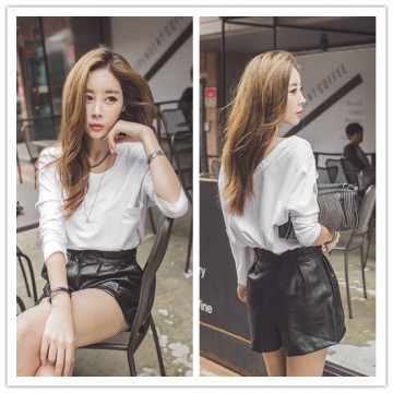 TE2151ALFS Fashion casual pure white pullover t-shirt