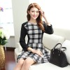 TE2539YZFZ Fashion checks splicing long sleeve nursing dress
