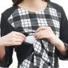 TE2539YZFZ Fashion checks splicing long sleeve nursing dress