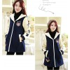 TE2567YZFZ Winter stars sleeve wool lining maternity coat with cap