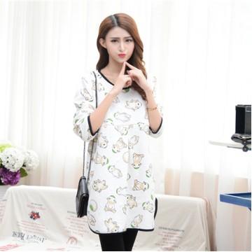 TE2569YZFZ Cute cartoon print casual nursing dress