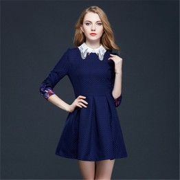 TE2618NS Sweet embroidery collar puff sleeve slim waist dress