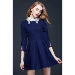 TE2618NS Sweet embroidery collar puff sleeve slim waist dress