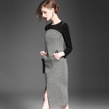 TE2620NS Elegant gentlewomen OL temperament slit long dress
