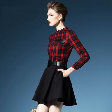 TE2729AMN New style checks splicing temperament A-line dress