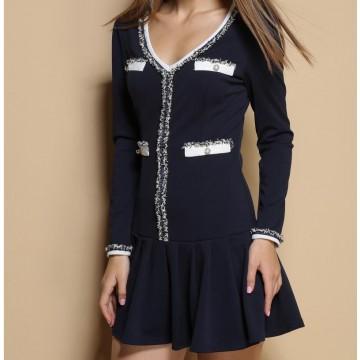 TE3397CMN V-neck elegant debutant style long sleeve dress