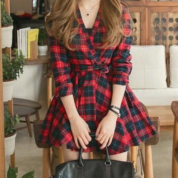 TE3894NX England fashion v-neck checks slim waist dress
