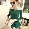 TE3895NX Bubble skirt hem boat neck cotton tops