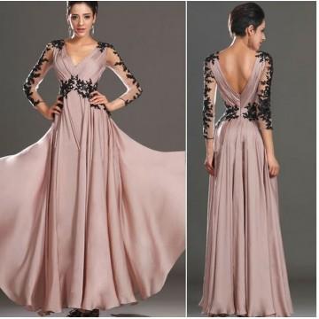 TE3903NX Europe fashion v-neck backless lace long sleeve formal dress