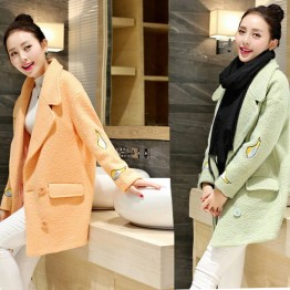 TE3910BDKJ Japanese double-breasted embroidery birds sleeve woolen coat