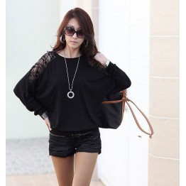 TE5510DFYL Fashion lace splicing batwing sleeve loose t-shirt