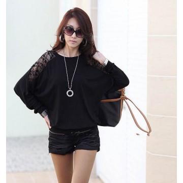 TE5510DFYL Fashion lace splicing batwing sleeve loose t-shirt