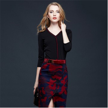 TE5855NS New style v-neck splicing irregular slim dress