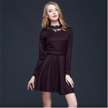 TE5856NS OL Autumn slim waist England checks lace ornament dress