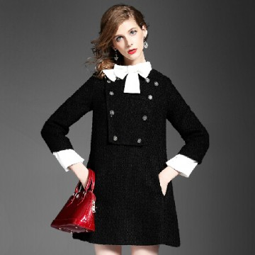 TE5857NS Winter new style bowknot collar A-line woolen dress