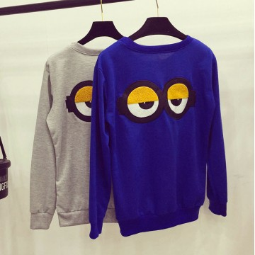 TE5909QBY Trendy stereoscopic letters eyes back loose sweatshirt