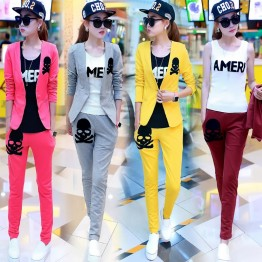TE6027DYG Korean fashion casual sports style three piece suit