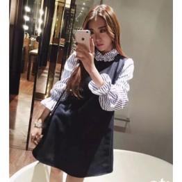 TE6238YZL Petal neckline stripes sleeve woolen splicing fake two piece dress