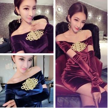 TE6239YZL Sexy pleuche Chinese knot boat neck dress