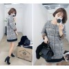 TE6303YZS Thicken woolen color matching checks dress