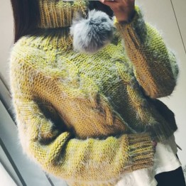 TE6317MDS Fashion twist pattern warm cony hair pullover sweater
