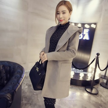 TE6317MN Korean fashion pocket coat with cap