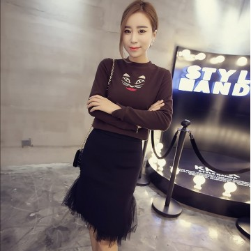 TE6318MN Korean fashion sueded embroidery cat t-shirt