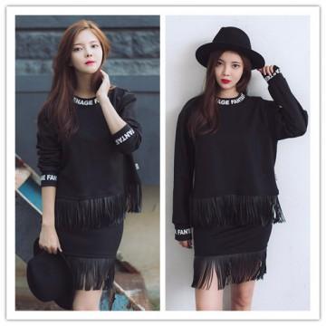 TE6318YZS Letters print pu tassel sweatshirt with tassel skirt