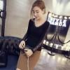 TE6320MN V-neck lace splicing backing shirt