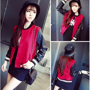TE6333MN PU splicing sleeve woolen baseball jacket