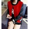TE6333MN PU splicing sleeve woolen baseball jacket