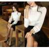 TE6365SOLO Thicken chiffon long sleeve lace splicing shirt