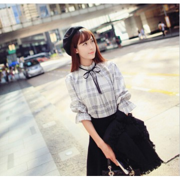 TE65116YWQS Fashion checks preppy temperament ramie shirt