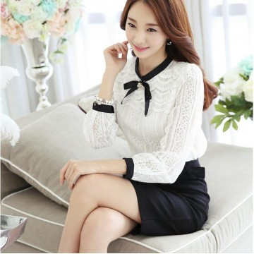 TE6601SOLO Elegant thicken wool knot lace backing shirt