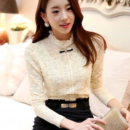 TE6626SOLO Thicken wool flouncing collar slim joker lace shirt