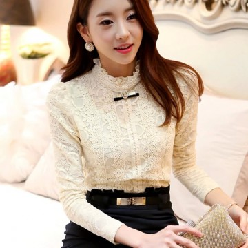 TE6626SOLO Thicken wool flouncing collar slim joker lace shirt