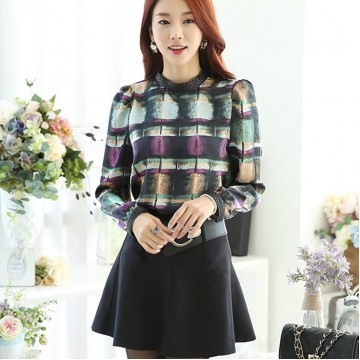 TE6630SOLO Thicken wool colorful checks stand collar long sleeve shirt