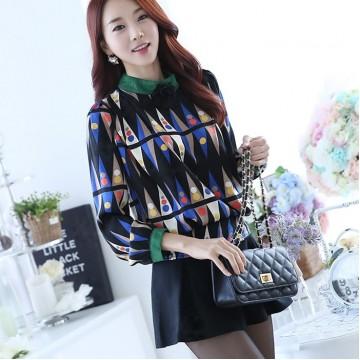 TE6631SOLO Korean fashion thicken wool print long sleeve shirt