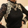 TE6633SOLO Thicken wool stand collar long sleeve lace backing shirt