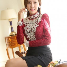 TE6635SOLO Thicken stereoscopic embroidery relieve lace backing shirt