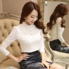 TE6636SOLO Autumn fashion stand collar wool lining lace long sleeve shirt