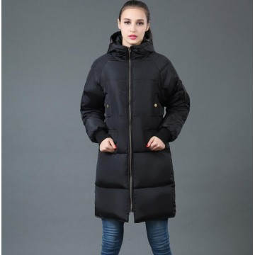 TE6670YYM Winter casual pure color down long coat with cap