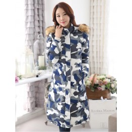 TE6671YYM Korean style fur collar down long coat with cap