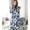 TE6671YYM Korean style fur collar down long coat with cap