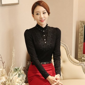 TE6896SOLO Korean fashion turtle neck pearl collar lace shirt
