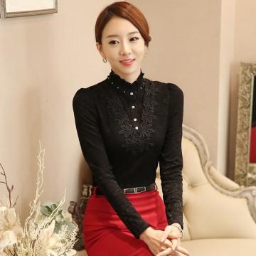 TE6896SOLO Korean fashion turtle neck pearl collar lace shirt
