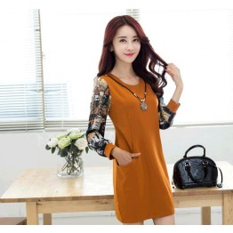 TE6936JMFS Korean fashion print sleeve splicing wool lining dress