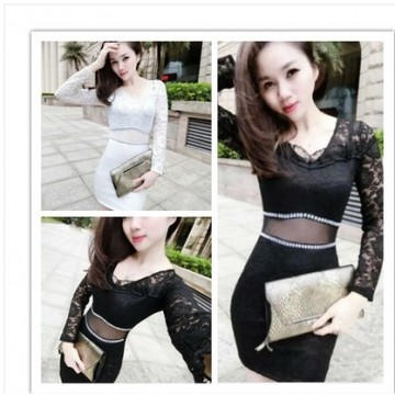 TE8002HYG Sexy grenadine waist lace splicing tight hip dress