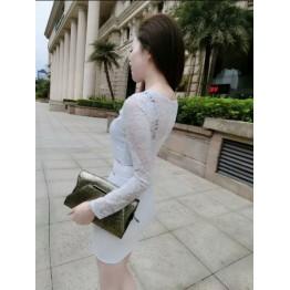 TE8002HYG Sexy grenadine waist lace splicing tight hip dress