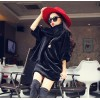 TE8076XWFC Winter plush rabbit half sleeve dress with warm scarf